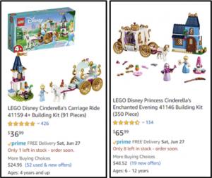 A comparison of two different Cinderella's castle sets