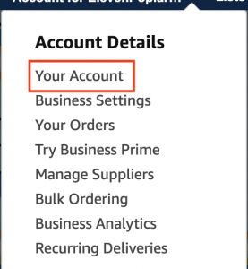 Your Account menu settings