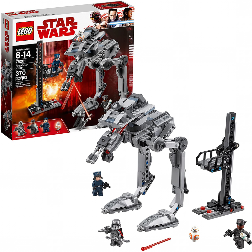 LEGO 75201 artwork box and AT-ST build with minifigures.