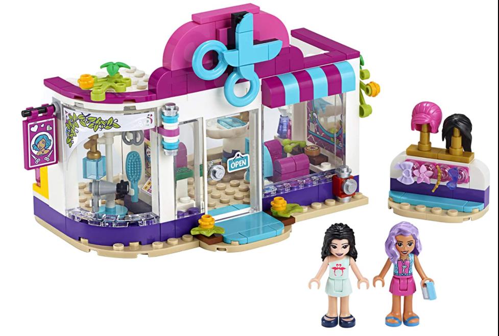 LEGO Heartlake Friends Hair Salon assembled set and minifigures