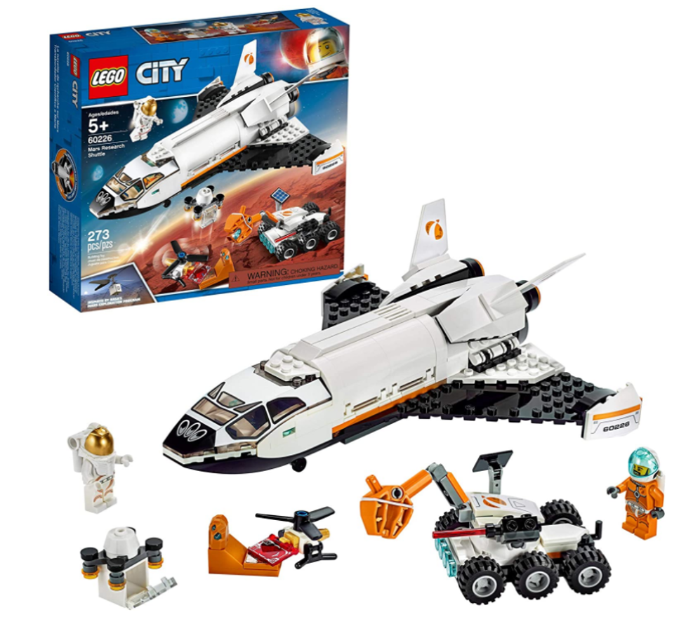 LEGO Mars Research Shuttle assembled set, minifigures, and box.