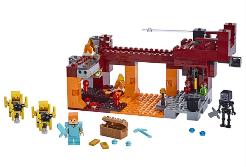 LEGO Minecraft Blaze Bridge assembled set and minifigures